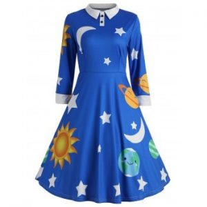 Sun and Moon Print Dress