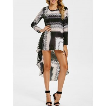 Tribal Print High Low Long Sleeve Dress