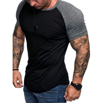 Round Neck Color Block Panel Short Sleeves T shirt