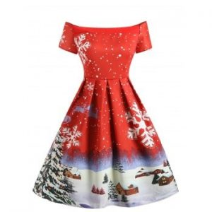 Christmas Snowflake Print Off The Shoulder Dress