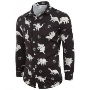 Animals Print Button Up Long Sleeves Casual Shirt