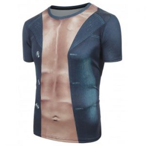 3D Muscle And Jacket Printed Funny T shirt