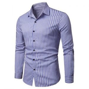 Stripe Print Hem Curved Long Sleeve Shirt