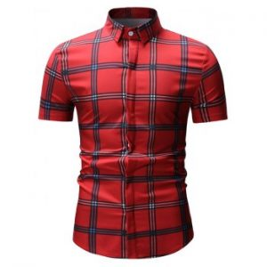 Plaid Pattern Short Sleeve Casual Shirt