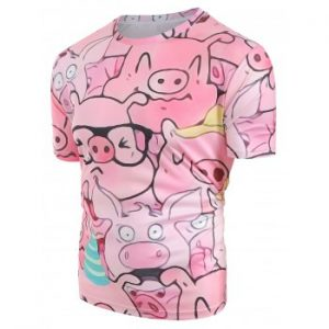 ZAFUL Cartoon Pig Pattern T shirt