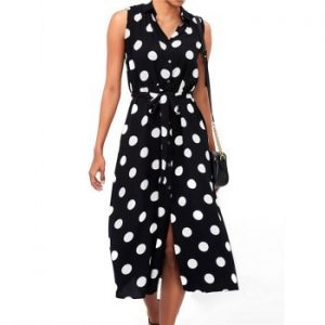 Polka Dot Turn Down Collar Belted Dress