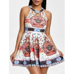 Tribal Print Skirted Tankini Set