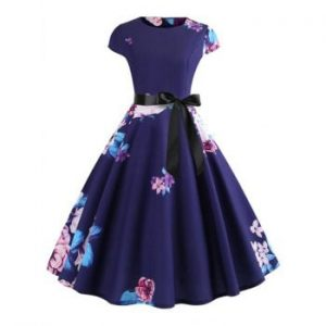 Floral Print Belted High Waist Dress