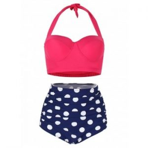 Polka Dot Ruched Bikini Set