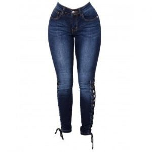 Womens Fashion High Waist Jeans Bandages Elastic Slim Body Jeans