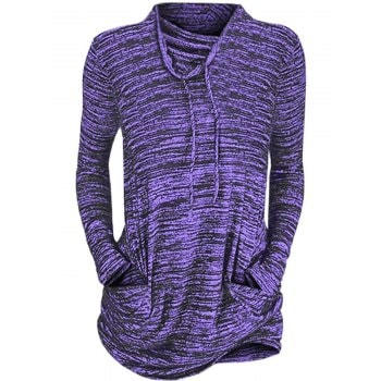 Womens Cowl Neck Long Sleeve Pocket Casual Tunic Sweatshirts T shirt