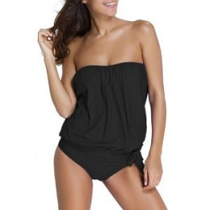 Strapless Knotted Tankini Set