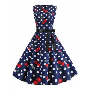 Cherry Print Vintage Belted Dress