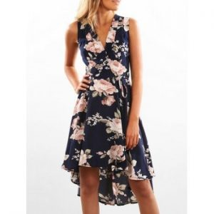 Wrap Floral Print High Low Hem Dress