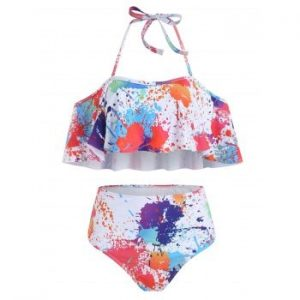 Paint Splatter Ruffle Bikini Set