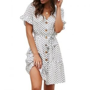 V Neck Polka Dot Button Dress