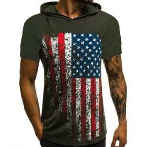 American Flag Hooded T Shirt