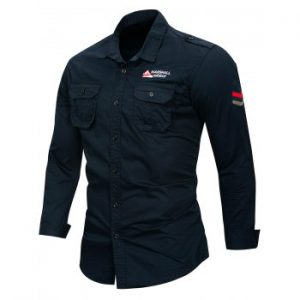 Letter Embroidery Cargo Shirt