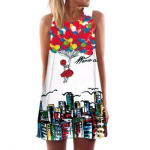 Printed Sleeveless Trapeze Dress