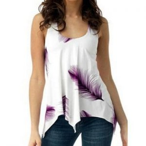 Feather Print Lace Up Tank Top