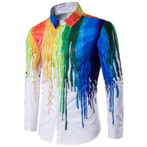 Paint Splatter Hidden Button Shirt