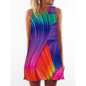 Multicolor Printed Trapeze Dress