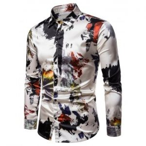 Paint Splatter Print Silky Shirt
