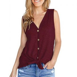 Knitted Plunge Casual Tank Top