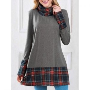 Plaid Insert Sweatshirt