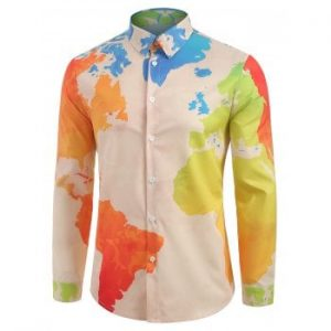 Abstract World Map Print Button Shirt