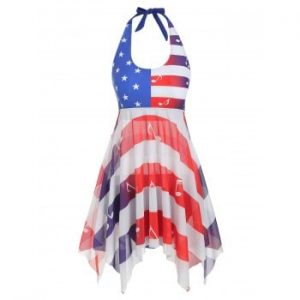 American Flag Musical Note Mesh Tankini Swimsuit