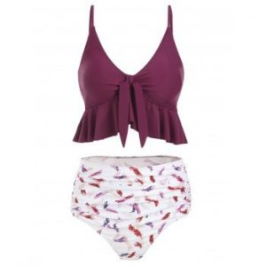 Feather Print Knot High Waisted Tankini Swimsuit