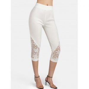 High Rise Floral Crochet Leggings