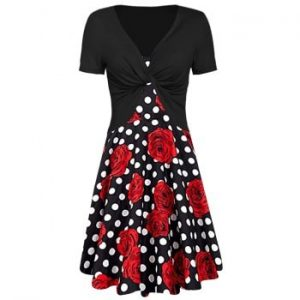 Floral Print Dotted Dress with Twisted Tee