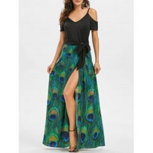 Peacock Feather Slit Dress