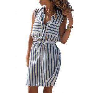Striped Pockets Belted Dress