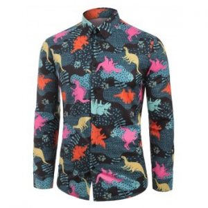 Button Up Leaves Animals Print Long Sleeves Shirt