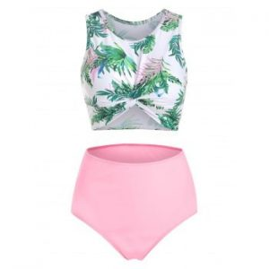 Leaves Print Twist Front Tankini Swimsuit