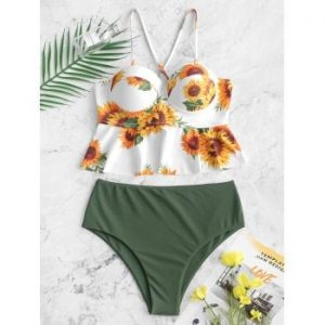 Lace up Sunflower Peplum Tankini Swimsuit
