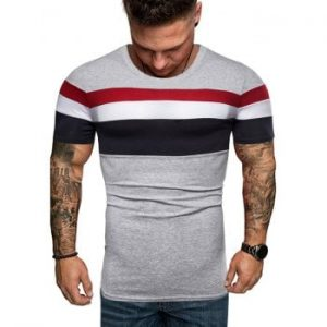 Contrast Striped Patch Casual T Shirt