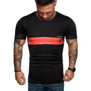 Contrast Stripe Patch Crew Neck Casual T Shirt