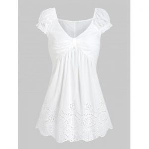 Broderie Anglaise Ruched T shirt