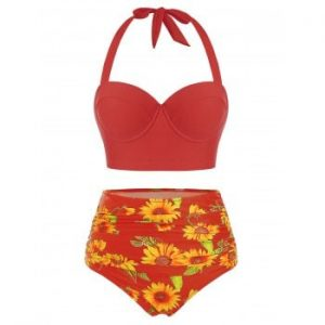 Sunflower Print Halter Bikini Swimsuit