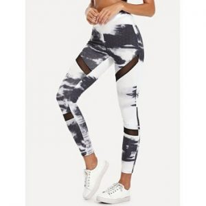 Tie Dye Mesh Panel Leggings