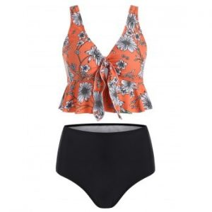 Floral Print Knotted Tankini Swimsuit