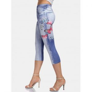 Butterfly Print Cropped Leggings