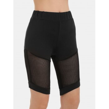 Fishnet Panel Cycling Leggings