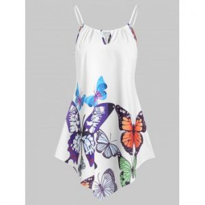 Butterfly Print Keyhole Cami Top