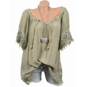Lace Panel Raglan Sleeve Blouse