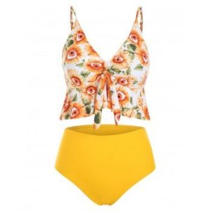 Sunflower Knotted Tankini Swimsuit